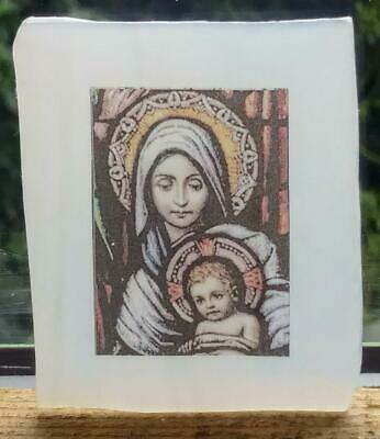 Stained Glass Mother & Child -Small Kiln fired transfer fragment vintage pane!