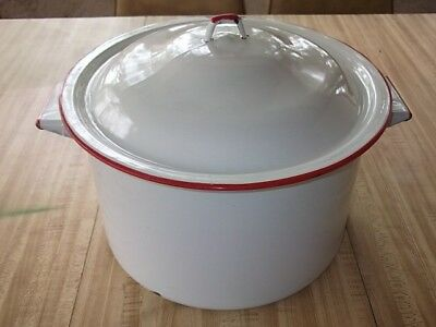 Vtg Enamelware White Red Trim Pot With Lid Farmhouse Style Graniteware Stock Pot