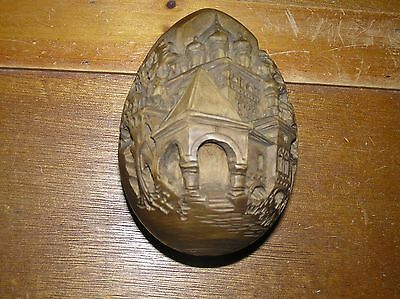 Estate Artist Signed Intricately Carved Jewish Wood Egg with Temple & Trees –