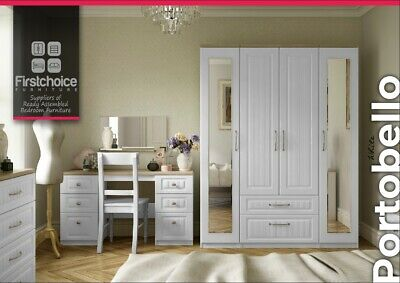 Portobello White Wardrobe + Drawers Set Fully Ready Assembled Bedroom Furniture
