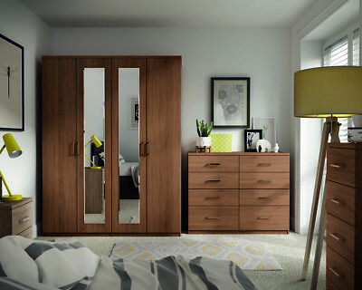 Medina Tuscany Walnut Oak Wardrobe Drawers Set Ready Assembled Bedroom Furniture