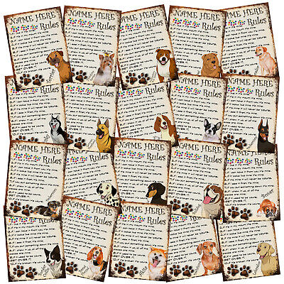 PERSONALISED Dog Breeds Retro Metal Shabby-Chic Tin Sign Wall Plaque
