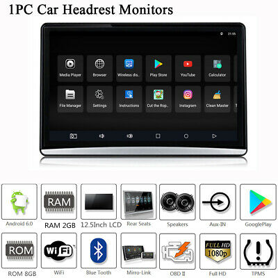 "12.5"" Touch Screen Car Headrest Rear Seat Monitor Player Android 6.0 Mirror Link"