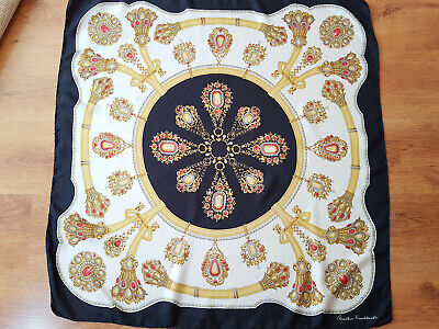 CHRISTIAN FISCHBACHER Gold Jewelry Motif Hand Rolled 100% Silk Scarf