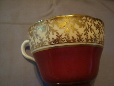 Aynsley Bone China Tea Cup Made in England Red color with Gold embellishments