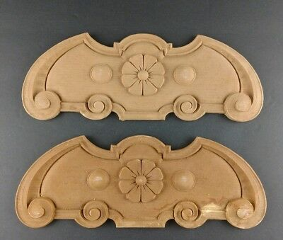 Pair Antique Wood Composition Furniture Molding Medallions Flower