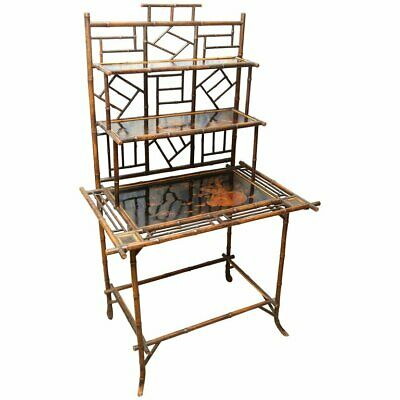 Superb and 19th century English bamboo server, desk or etagere .