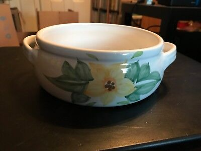 "Caleca Lirica 7.5"" Casserole Pot Dish Stoneware Made in ITALY Hand Painted"
