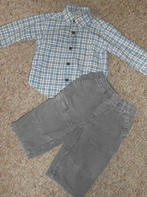 THE CHILDREN'S PLACE Plaid Shirt and Gray Corduroy Pants Boys Size 12 months