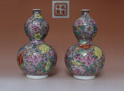 Rare Pair Chinese Famille Rose Porcelain Vases Qianlong Marked (L552)