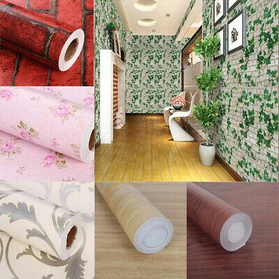 Wood Wall Paper Brick Stone Rustic Effect Self-adhesive Wall Sticker Home Decor