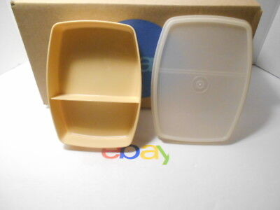 Vintage Tupperware Slim Packette Divided Lunch Container Almond #813 & Lid #814
