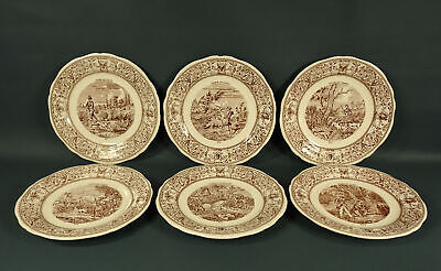 """6 Musee Gien France Hunting Scene Plates Chasse Series #s 1-6 New w/ Tags 8 3/4"""""""