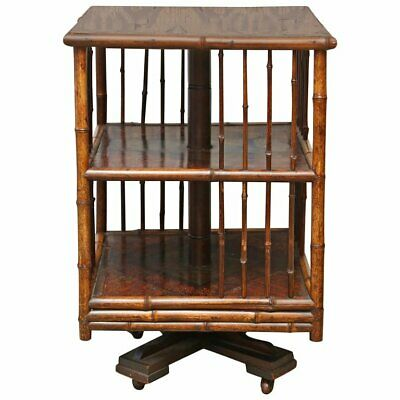 Superb 19th Century English Turning Bamboo Table, Revolving Bookcase.