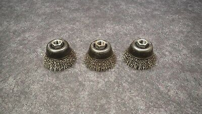 "(3) Sait SS Crimp Wire Cup Brushes 2-3/4"" diam. X .014 Wire X 5/8-11 AH, 06408"