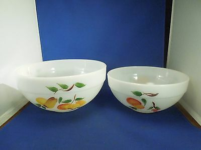 Vintage Set of 2 Fire-King Ware Nesting Mixing Bowls 5 & 7 Hand Painted Gay Fad