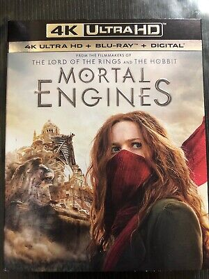Mortal Engines 4K Blu-ray No Digital Included With Slip Cover Like New