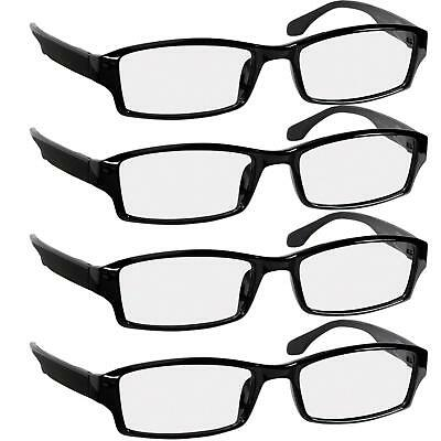 ba1c86f0674 Truvision Reading Glasses 2.00 4 Pack Black Readers For Men   Women Spring  Arms