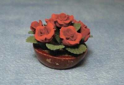 Bowl Of Red Roses, Dolls House Miniature, Flowers 1.12 Scale