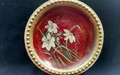 Antique Coulter & Long Framed Redware Plate w/ Hand Painted Daffodils dated1883