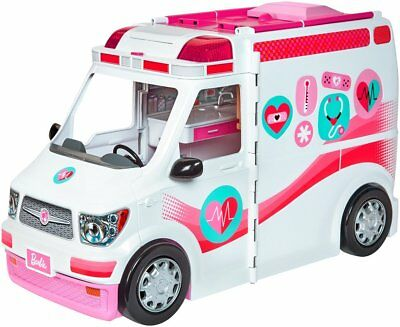 Barbie Ambulance Care Clinic Vehicle Girls Toys Doll Car Sounds Play Doctor Dr
