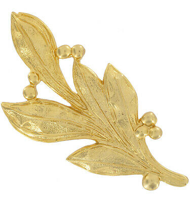 Large Gold Tone Leaf and Berry Pin Brooch