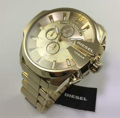 Men's DlESEL DZ4360 53mm Dial Gold Strap Mega Chief Chronograph Wrist Gold Watch