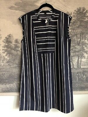 NWT J. Crew Navy Blue Cotton Striped Shift Shirtdress Size M Nautical Classic