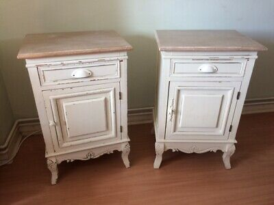 Vintage Antique Pair of French Louis Shabby Chic Bedside / Occasional tables