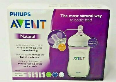 Philips - Avent Natural Baby Bottle - Clear 9oz - Breast Shaped Nipple (5 Pack)
