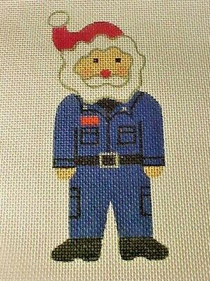 Needlepoint Hand Stitch Painted Canvas Mail Man Santa 18 Ct Mono Star Needle Art