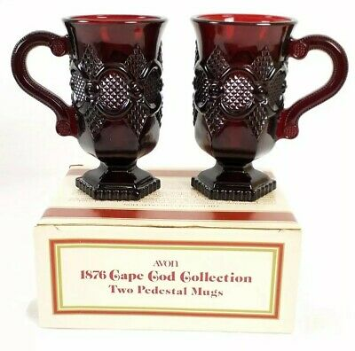 2 Vintage Avon Cape Cod 1876 Ruby Red Glass Pedestal Mugs With Box