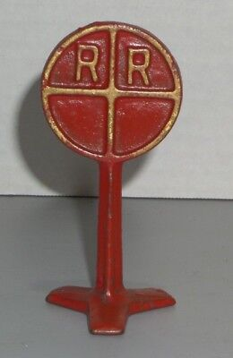 "1930's Antique Arcade Cast Iron Toy Rr Railroad Street Sign 3-5/8"" Tall"