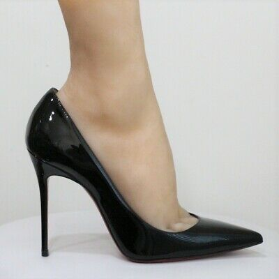 c40783cb4adb Christian Louboutin Decollete 554 100 Black Patent Leather Pump EU 37 US 7  - 7.5