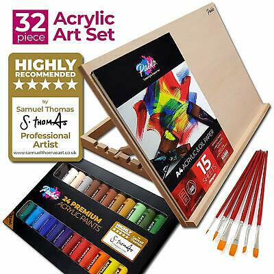 Pablo® A3 Adjustable Table Top Art Easel Set – 24 Acrylic paint,6 brushes & pad