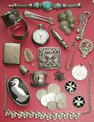 Job Lot Vintage & Modern Collectables - Coins Buttons Watch Jewellery Silver etc