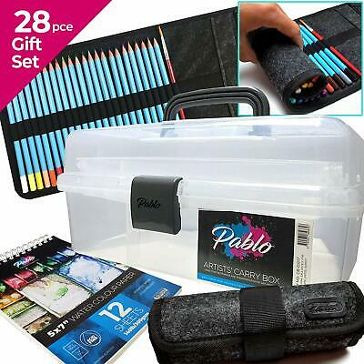 Artists Carry/Caddy Box Gift set- Art Storage Box, 24 Watercolour pencils & pad