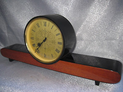 "Vintage OLD RARE ! Soviet Russian USSR Clock Table Watch "" AMBER"" WOOD beautiful"