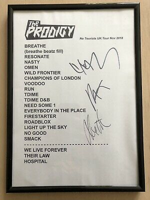The Prodigy 'No Tourists' Fully Signed 2018 UK Tour Set List Limited Edition