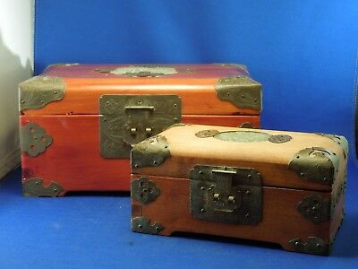 2 Hand Crafted Lacquered Wooden Vintage Chinese Jewelry Boxes W/ Jade & Locks