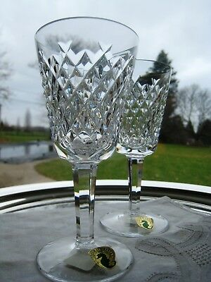 """Waterford Irish Crystal.. Alana Pattern.. Two 5 1/2"""" White Wine Glasses.. Signed"""