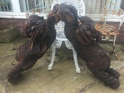 Large Pair of antique Chinese carved wood foo dogs statues with wax seals