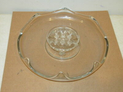 Vintage Crystal Clear 9 Hole Center Table Bowl with Flower Frog VFC