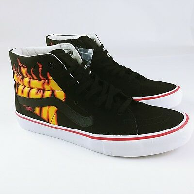 d1f50793de786d VANS SK8-HI PRO Thrasher Black Flame Skate Shoes Rare Ltd Sz 13 Mens ...