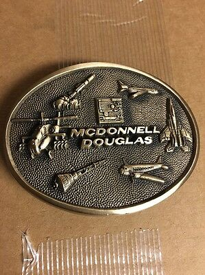 Vintage 1981 *Mcdonnell Douglas* Aircraft Chrome Over Solid Brass Buckle-Euc