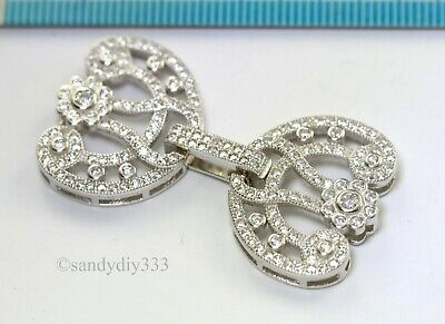 1x Rhodium plated STERLING SILVER CZ BEADING THREAD CORD CONNECTOR CLASP #3076
