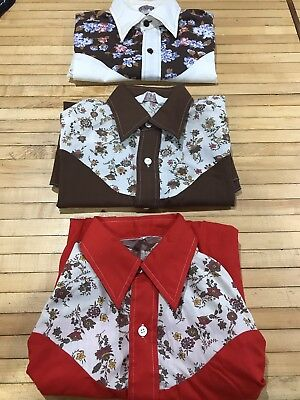 Vintage Set Of 3 Montgomery WARD Western floral button down Shirt girls Size 14