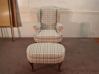 49726:Henredon Queen Anne Wing-Back Chair & Stool
