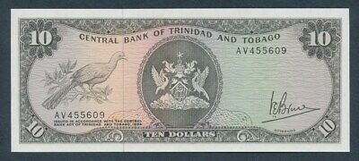 "Trinidad & Tobago: 1977 $10 Signature Bruce ""SCARCE TYPE"". Pick 32a UNC"