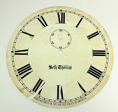 """Large Vintage Seth Thomas Time Only Clock Dial 12-3/8"""" - Parts Dh548"""
